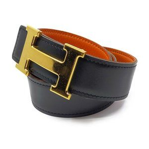 Authentic Hermes H Gold Buckle Reversible Belt